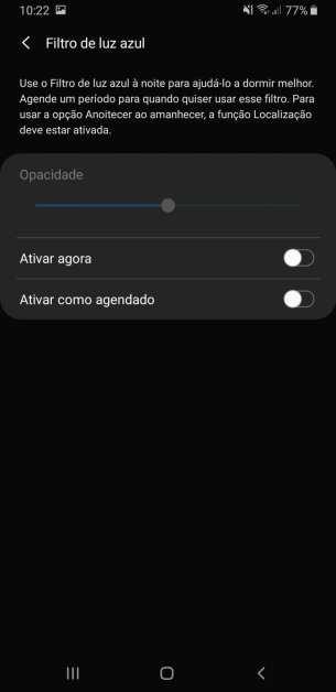 filtro de luz azul Galaxy A9 2018