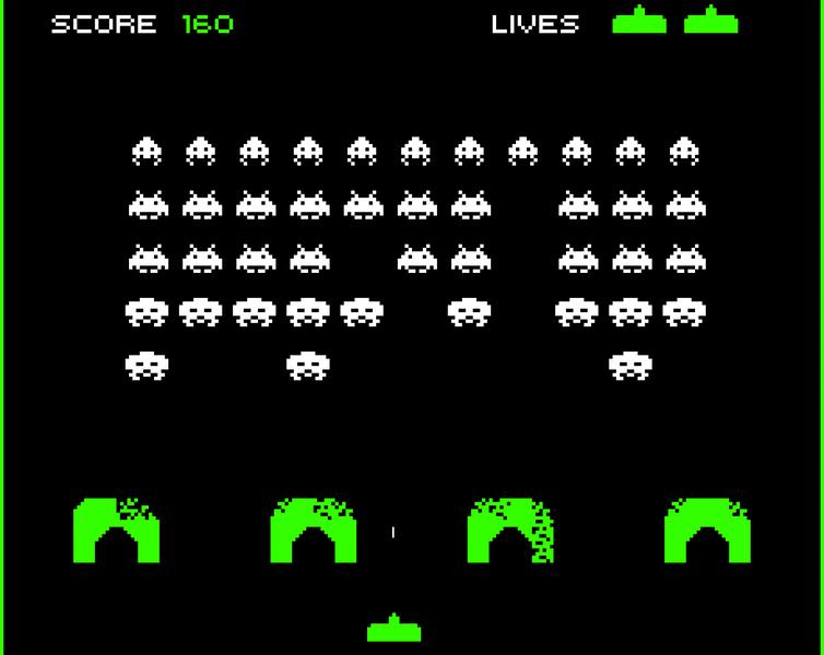 Derrote alienígenas em Space Invaders