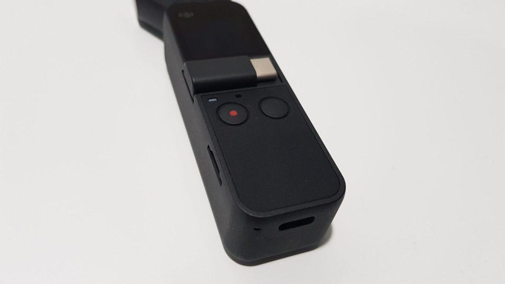 Botões e conector USB-C do Osmo Pocket