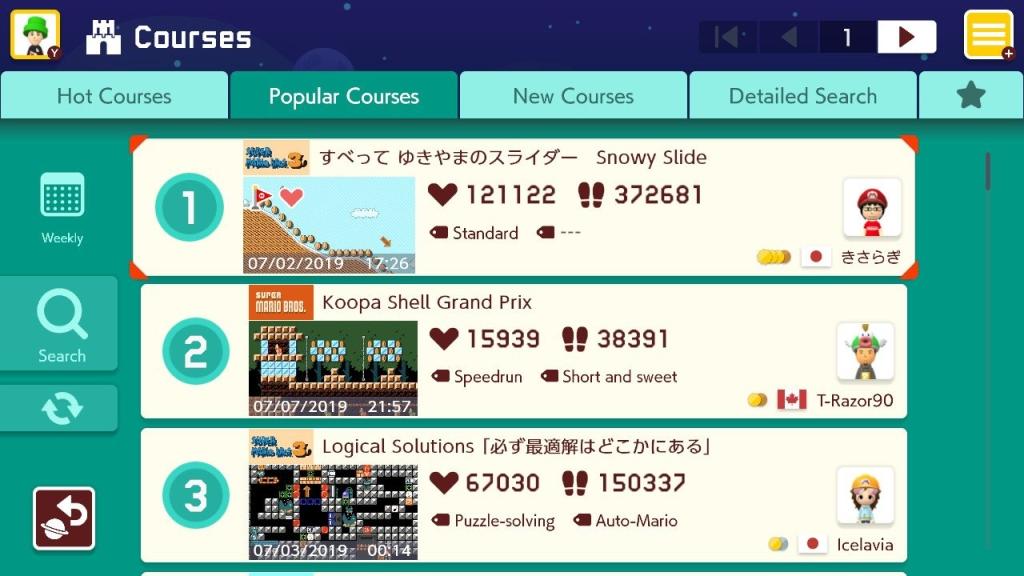 Captura de tela com uma lista de fases disponíveis para jogar em Super Mario Maker 2