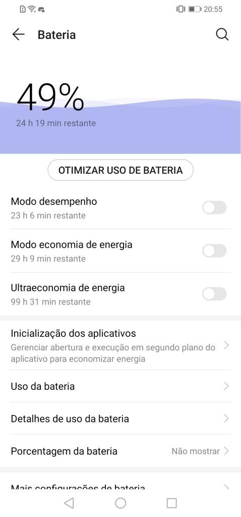 Configurações de bateria P30