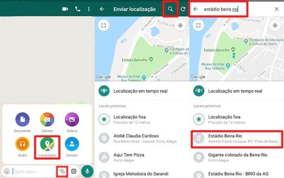compartilhar localização do WhatsApp com os contatos