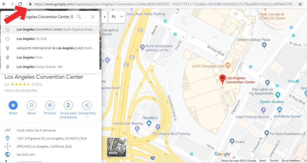 Acessando a versão web do Google Maps é possível pesquisar, copiar a URL, e colá-la na mensagem a ser enviada
