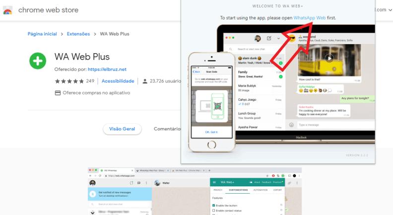No botão verde ao lado da barra de endereço, clique em WA Web Plus para testar a ferramenta