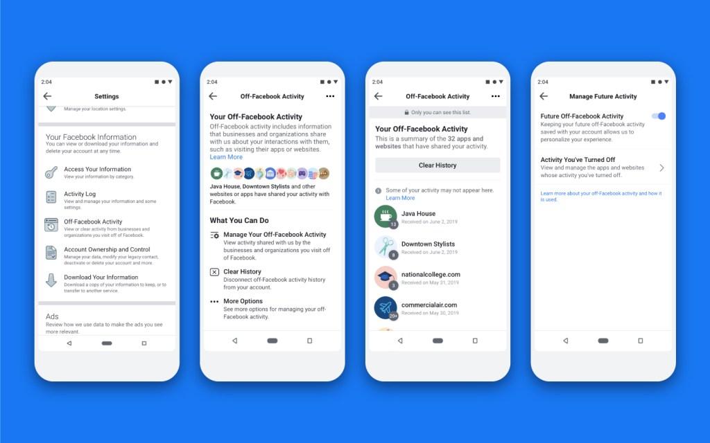 funções do Off-Facebook Activity