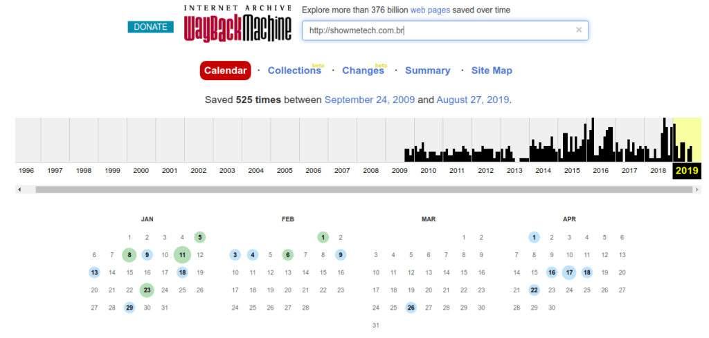 O site ainda permite que você visualize um calendário completo do site que você está buscando