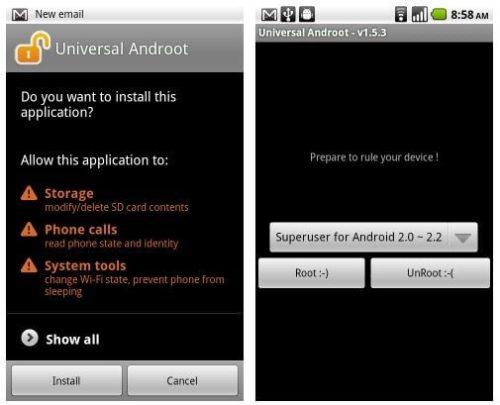 universalandroot3 thumb 1 500x405 - Tutorial: Root com 1 clique para o Motorola Milestone, Xperia X10, G1, Nexus One, Droid, Droid X, Hero, Streak e outros