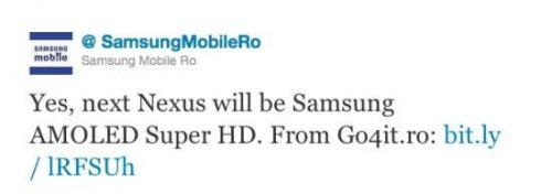 SamsungRomaniaTweet1 550x194 500x176 - Nexus 3 é confirmado pela Samsung Mobile da Romênia