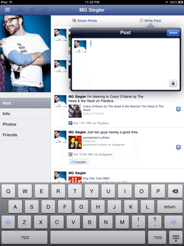 """facebook ipad 1 375x500 - App oficial do Facebook para iPad """"vaza"""" junto com atualização do app para iPhone"""