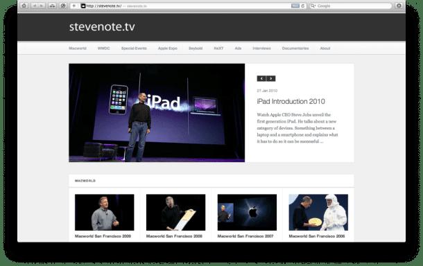 02 StevenoteTV 610x384 - Brasileiro cria site apresentações de Steve Jobs