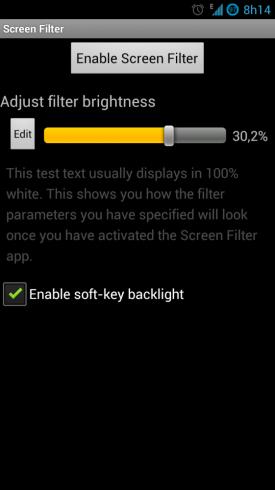 Screen Filter - Screenshot Configuração