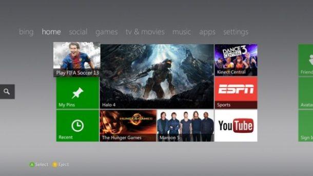 Xbox Live Dashboard de 2012 610x343 - Microsoft pode lançar Xbox TV com jogos casuais e streaming de vídeos