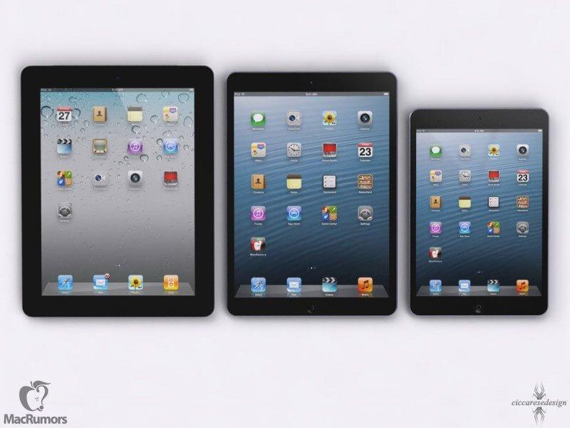 iPad 5 em comparação com o mini e o 4