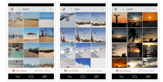 """Da esquerda para a direita: pesquisas de fotos por """"praia"""", """"neve"""" e """"pôr do sol"""""""