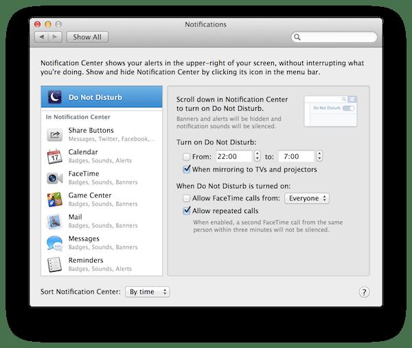 não perturbe - OS X Mavericks: as novidades mais interessantes