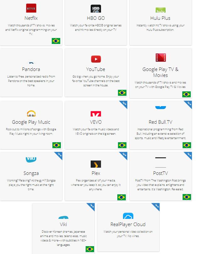 Aplicativos Chromecast disponíveis no Brasil