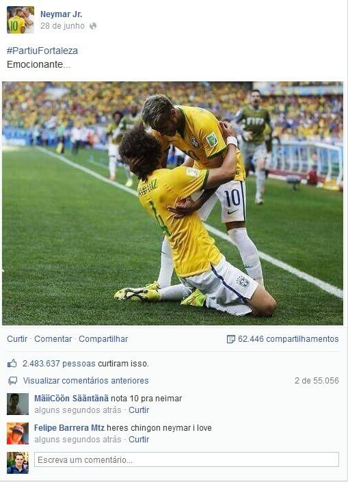 Foto de Neymar no Facebook é curtida mais de 2 milhões de vezes - Copa do Mundo: 1 bilhão de interações no Facebook