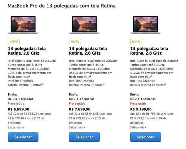 MacBook Retina 13 mid 2014 - Apple atualiza linha MacBook Pro Retina