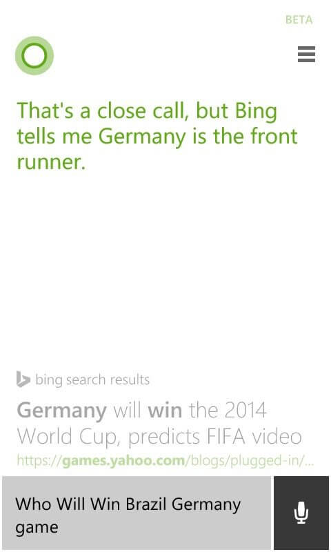 Previsão resultado Brasil x Alemanha do Bing
