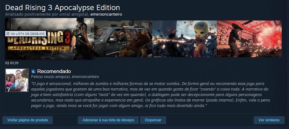 recomendao steam anlise de amigo - Steam: loja é redesenhada e sugere games baseados no seu estilo