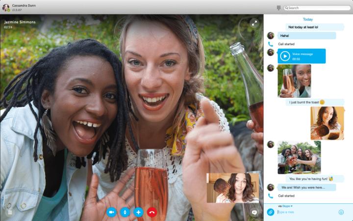 Skype 7.0 para Mac traz chamadas em vídeo e conversas em texto lado a lado.