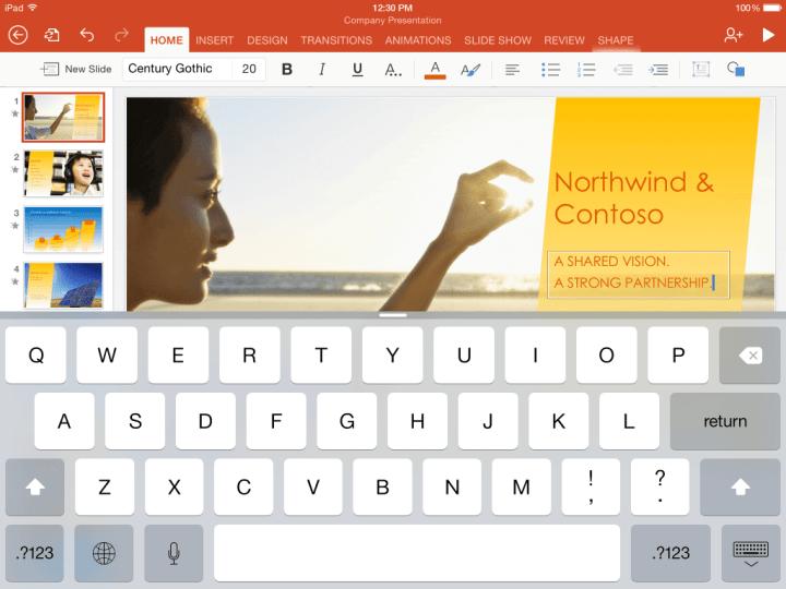 ipad ppt 1 1024x768 720x540 - Pacote de aplicativos Office é oferecido de graça pela Microsoft iOS e Android
