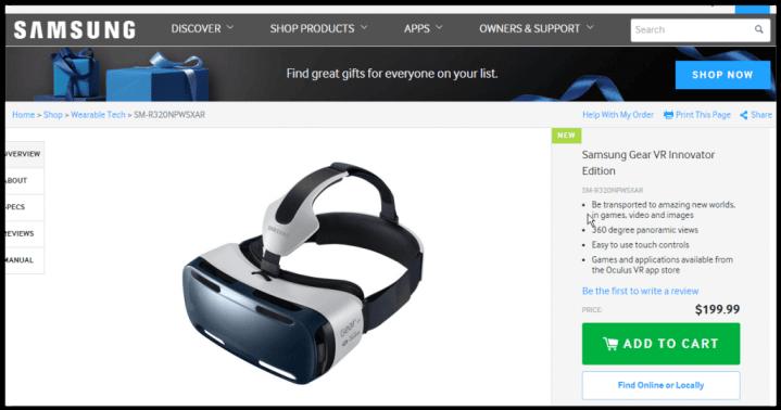 screen shot 12 09 14 at 02 44 pm 720x378 - Samsung Gear VR: você já pode comprar o seu por U$200