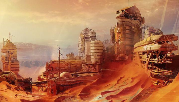 Concepção artística de uma colônia de habitação em Marte. A NASA planeja lançar sua primeira missão tripulada ao planeta em 2030.