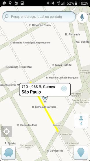 Ao abrir a localização com o Waze, o endereço é exibido corretamente / Reprodução