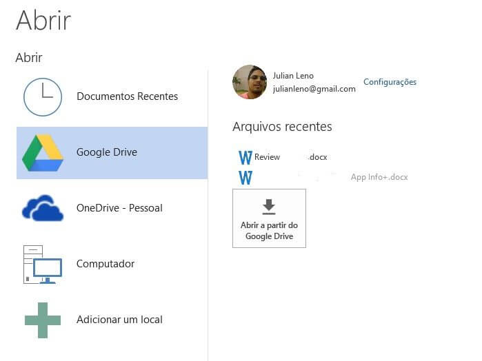 Google Drive para Microsoft Office abrir documentos