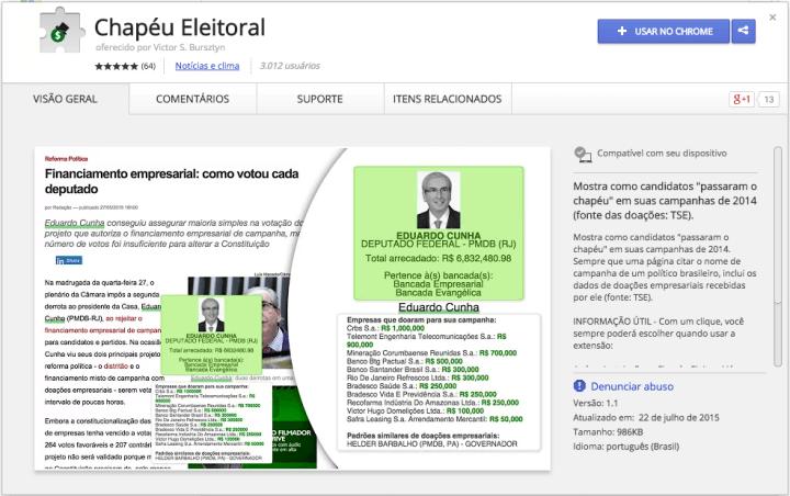 chapeueleitoral 720x452 - Saiba quem financiou a campanha de cada político com essa extensão para o Chrome