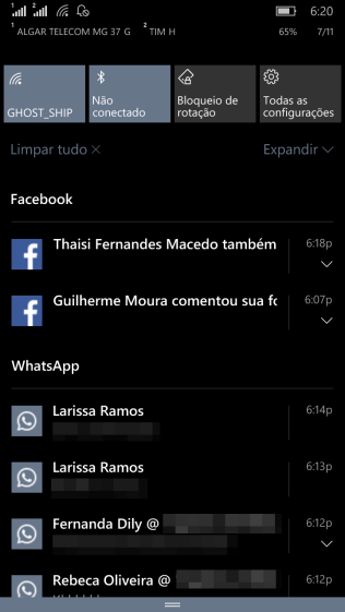Notificações - Windows 10 Mobile