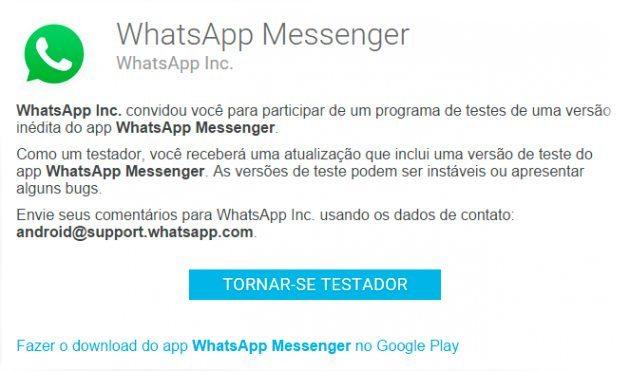 whatsapp beta android tornar se testador - WhatsApp libera Beta para Android; Saiba como entrar no programa