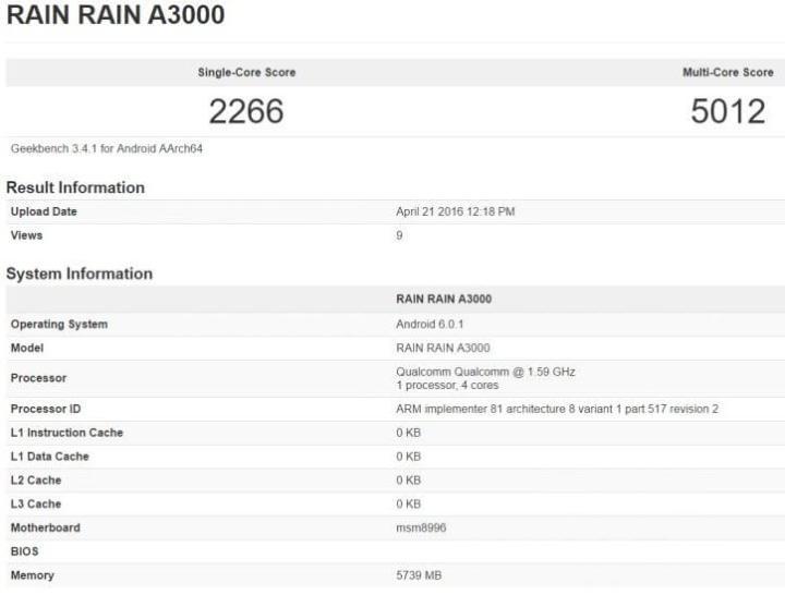 geekbench oneplus 3 720x546 - Melhor que muito laptop: OnePlus 3 pode vir com 6 GB de RAM