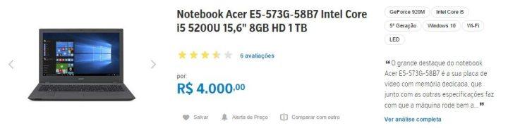 notebook acer e5 573g 58b7 zoom 720x182 - Fique ligado: com inflação, produtos de e-commerce tem variação de preço superior a 250%