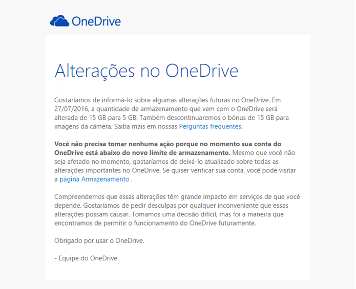E-mail da equipe do Onedrive