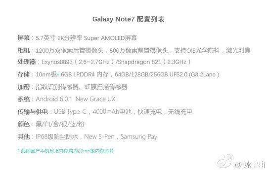 weibo note 4 - Galaxy Note 7 virá com 6 GB de RAM, 256 GB de armazenamento e nova interface 'Grace UX'