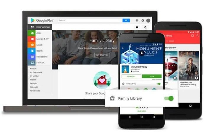 Biblioteca da família no Google Play