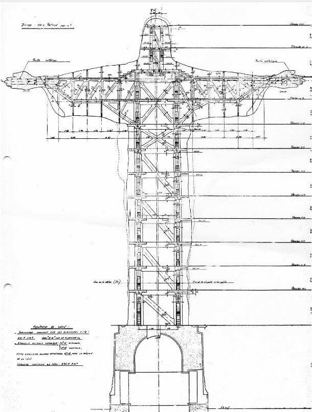 Estrutura interna do Cristo Redentor vista de face