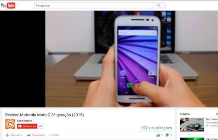 Exemplo de um vídeo do YouTube sendo reproduzido em baixa qualidade (144p)