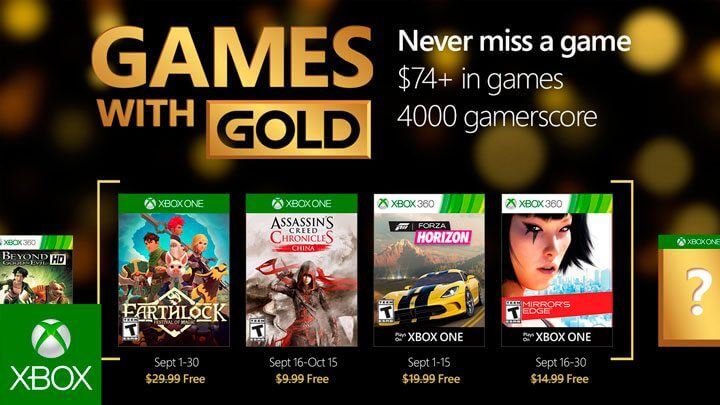 Games with Gold de setembro 2016