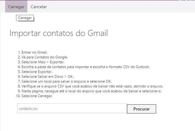 carregar - Tutorial: como importar e exportar contatos do Gmail e Outlook