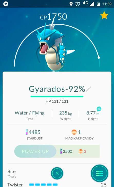 gyarados 92 iv - Tutorial: como descobrir o melhor Pokémon para evoluir