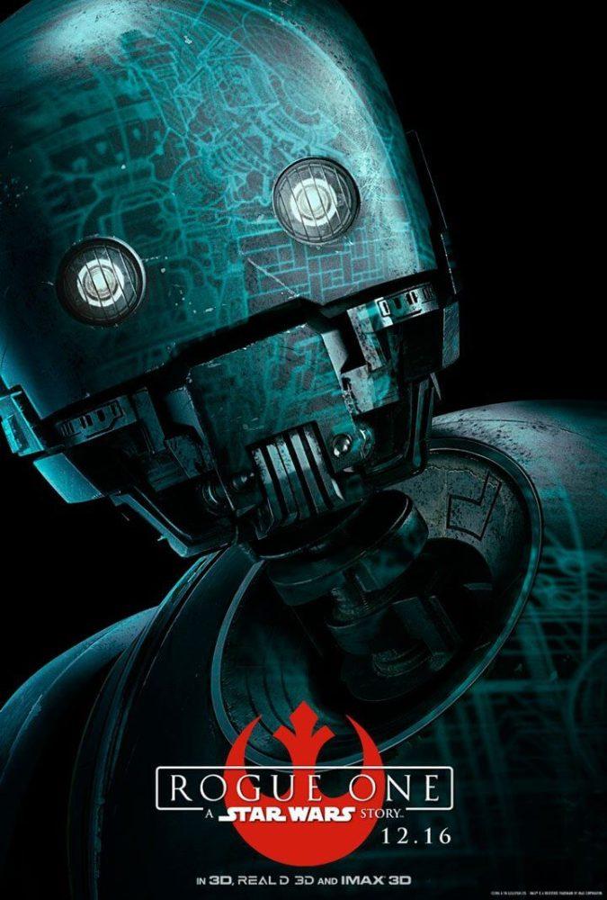 K-2SO (Voz de Alan Tudyk) - Reprogramado para lutar contra o Império que o criou.