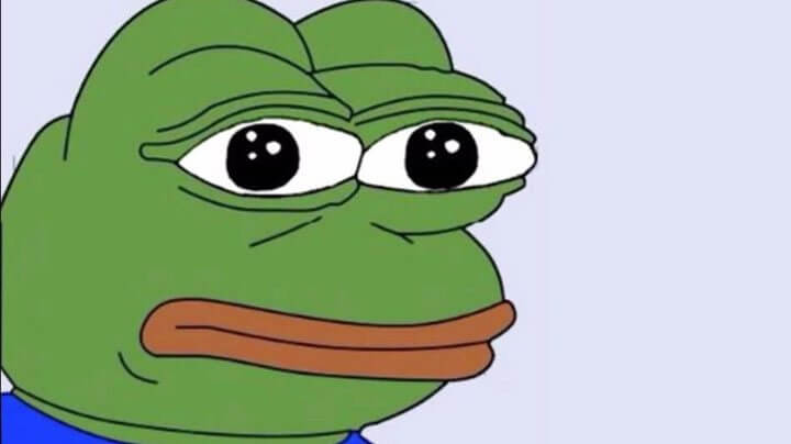 Pepe the Frog, um dos memes mais usados na internet para indicar tristeza