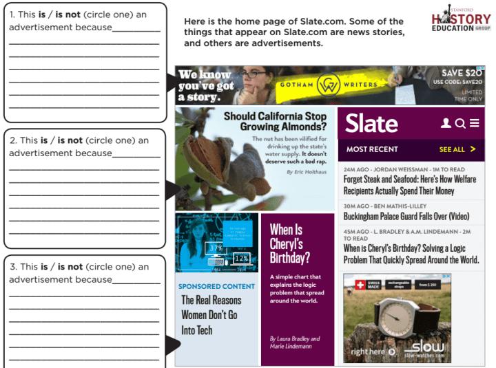 Uma das imagens mostrada aos estudantes durante o estudo. Você consegue identificar o que é notícia, conteúdo patrocinado e anúncio?