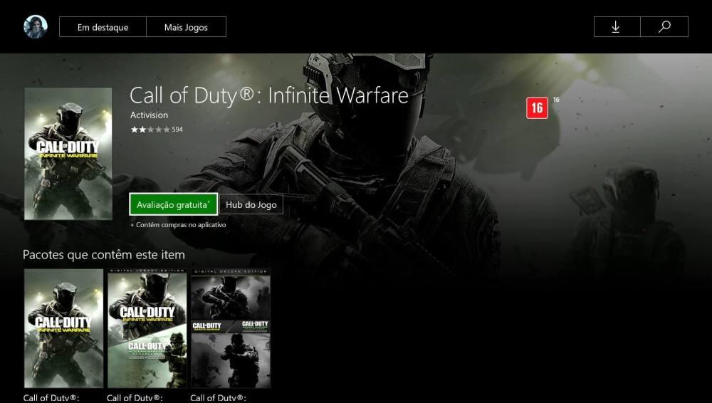 cod avaliacao gratuita - Call of Duty: Infinite Warfare avaliação grátis