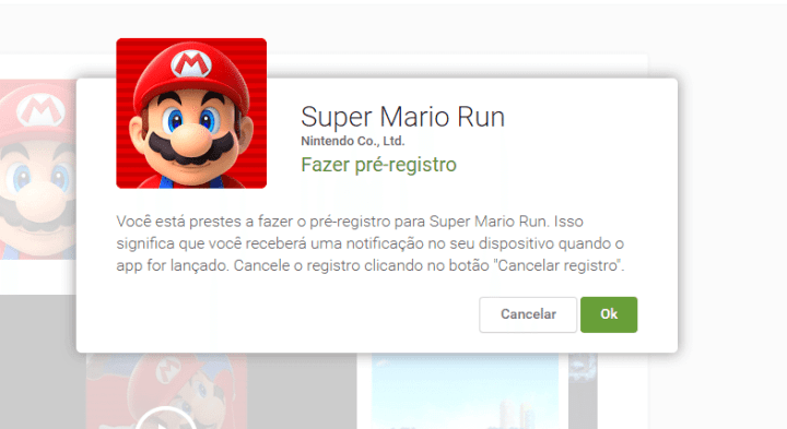 fazer pre registro google play super mario run