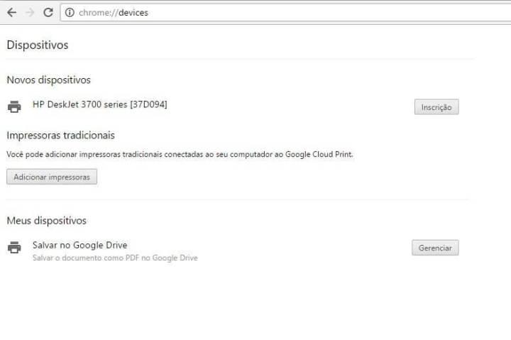 Google Cloud Print dispositivos