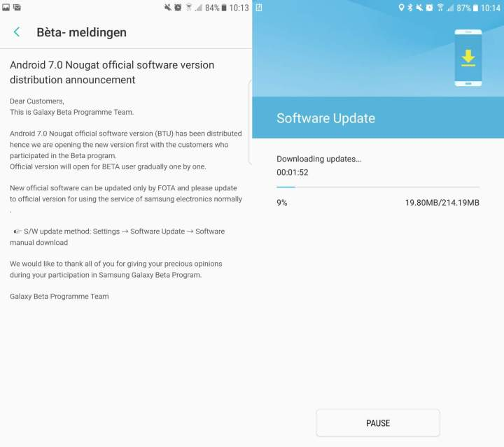Android Nougat no Galaxy S7